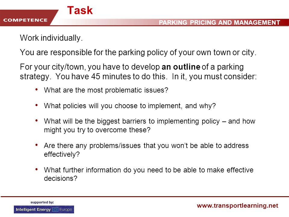 PARKING PRICING AND MANAGEMENT www.transportlearning.net Task Work individually.