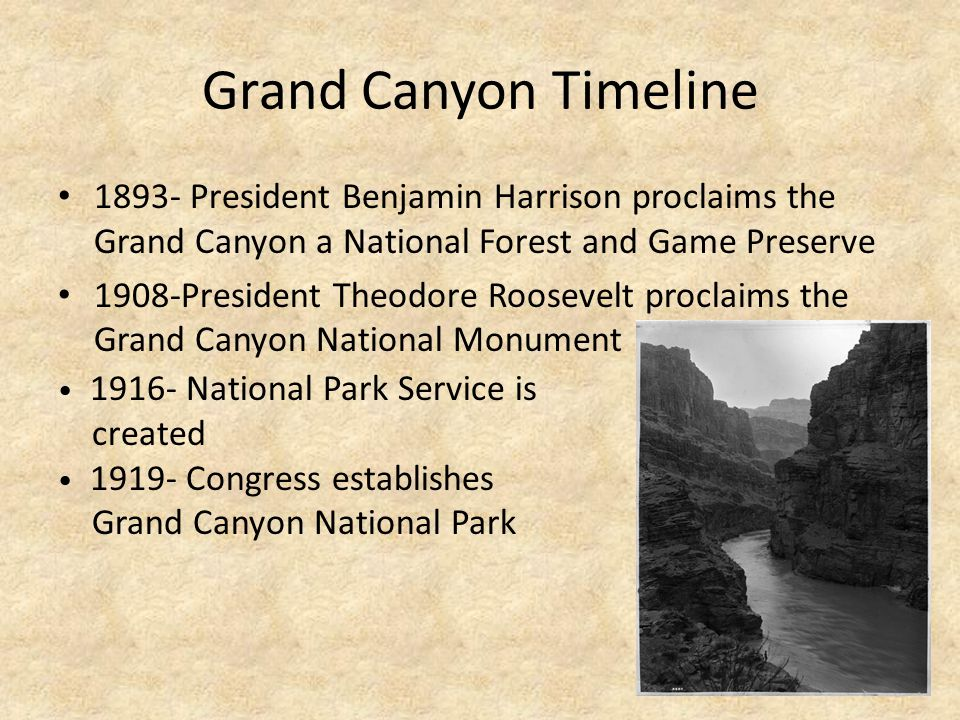 Grand Canyon Timeline 1893- President Benjamin Harrison proclaims the Grand Canyon a National Forest and Game Preserve 1908-President Theodore Roosevelt proclaims the Grand Canyon National Monument 1916- National Park Service is created 1919- Congress establishes Grand Canyon National Park