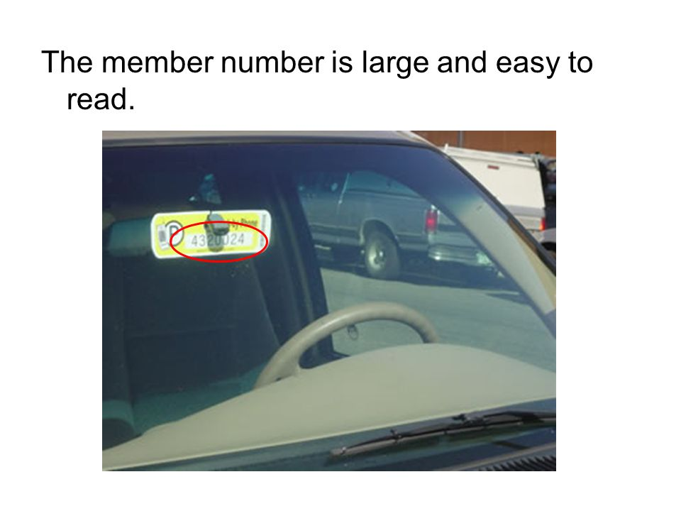 The member number is large and easy to read.