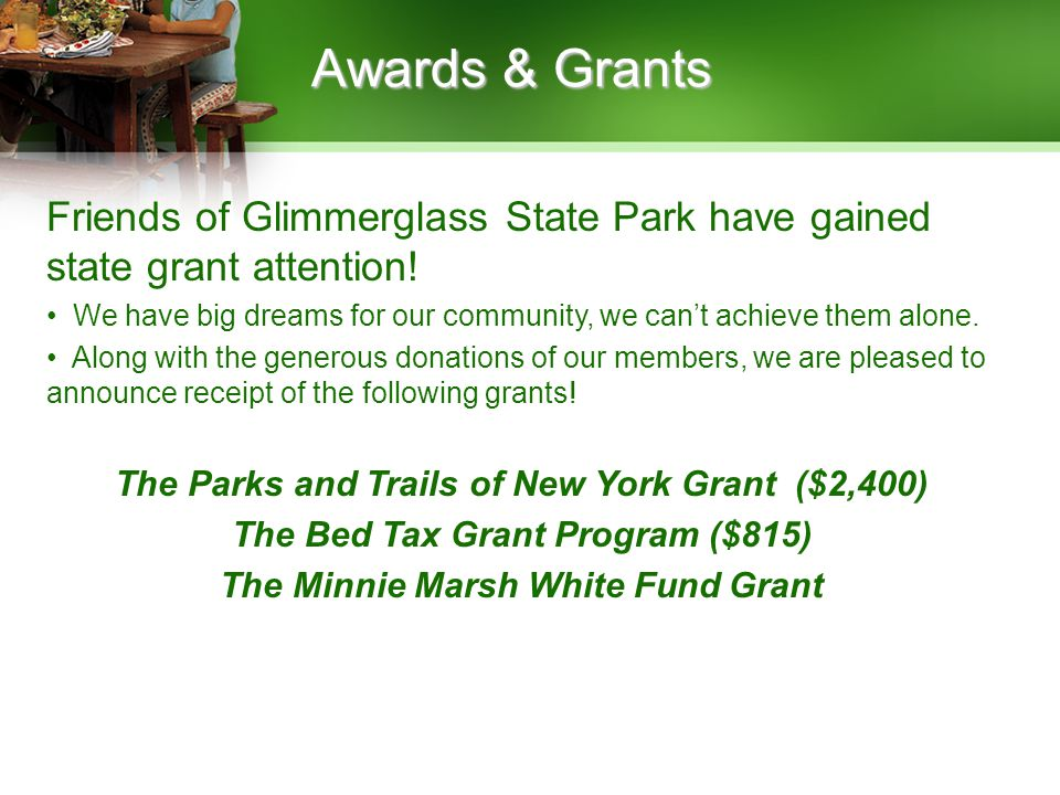 Awards & Grants Friends of Glimmerglass State Park have gained state grant attention! We have big dreams for our community, we cant achieve them alone
