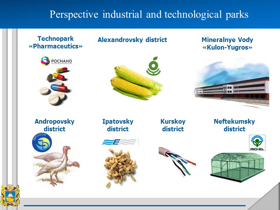 Mineralnye Vody «Kulon-Yugros» Kurskoy district Alexandrovsky district Technopark «Pharmaceutics» Andropovsky district Ipatovsky district Neftekumsky