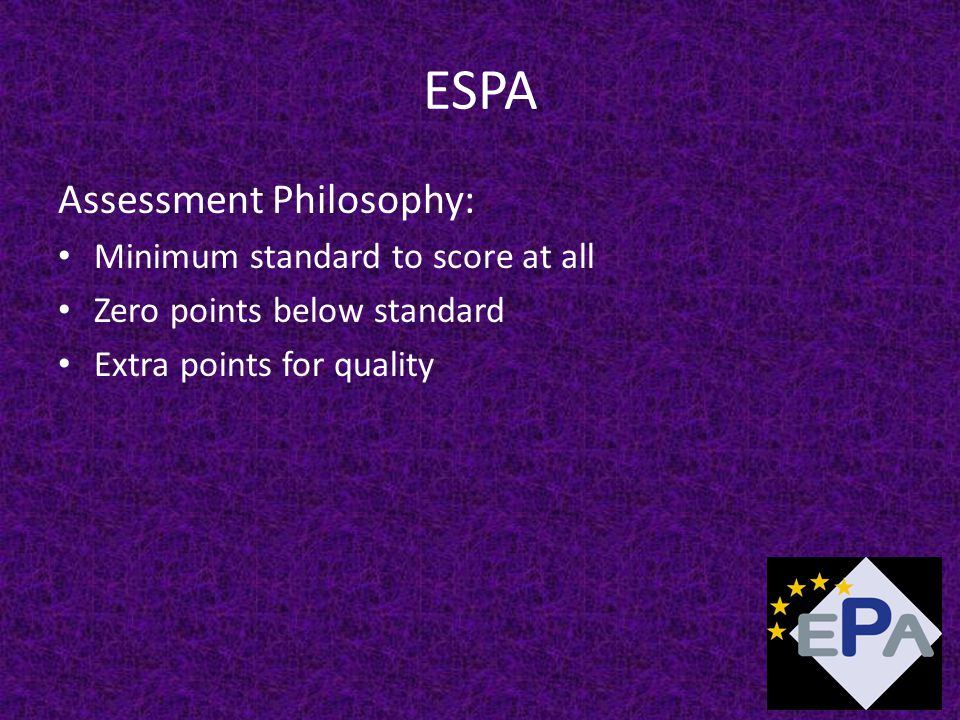 ESPA Assessment Philosophy: Minimum standard to score at all Zero points below standard Extra points for quality