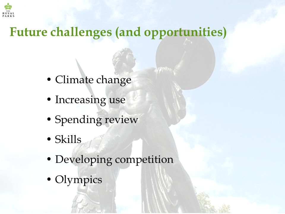 Future challenges (and opportunities) Climate change Increasing use Spending review Skills Developing competition Olympics