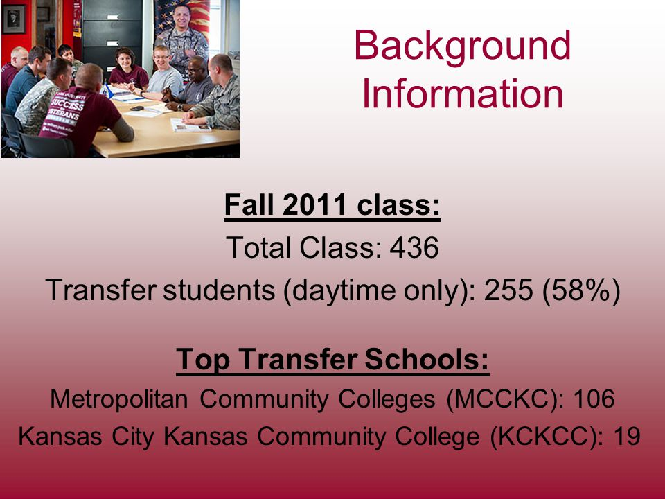 Background Information Fall 2011 class: Total Class: 436 Transfer students (daytime only): 255 (58%) Top Transfer Schools: Metropolitan Community Colleges (MCCKC): 106 Kansas City Kansas Community College (KCKCC): 19