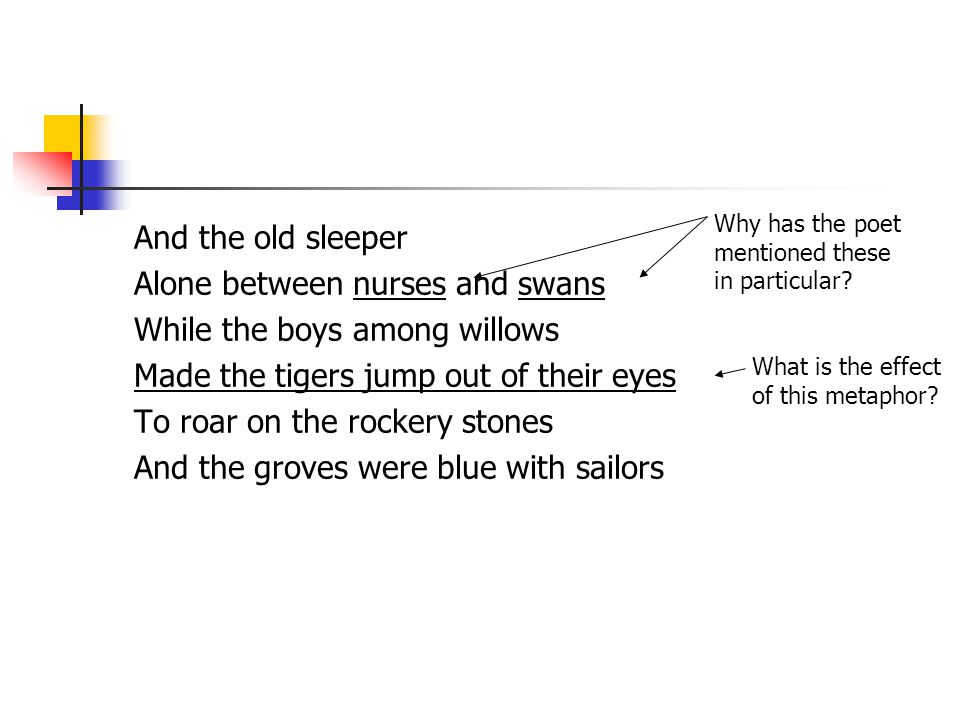 And the old sleeper Alone between nurses and swans While the boys among willows Made the tigers jump out of their eyes To roar on the rockery stones And the groves were blue with sailors What is the effect of this metaphor.
