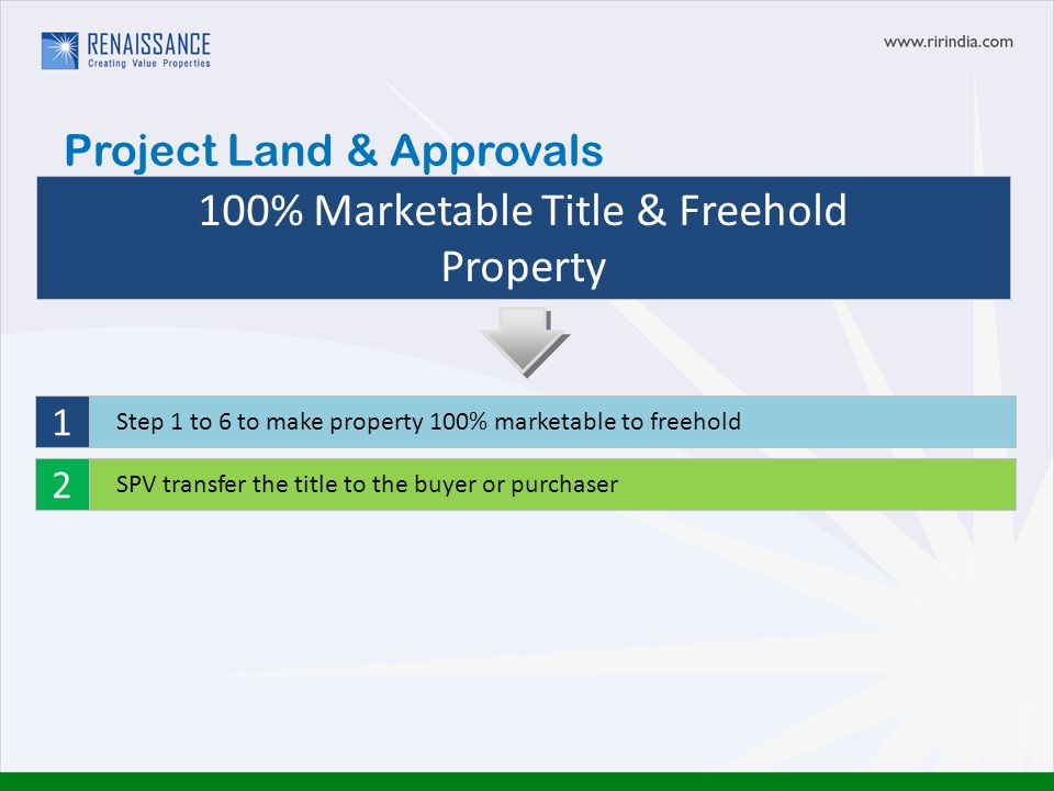 100% Marketable Title & Freehold Property Step 1 to 6 to make property 100% marketable to freehold SPV transfer the title to the buyer or purchaser 1 2 Project Land & Approvals