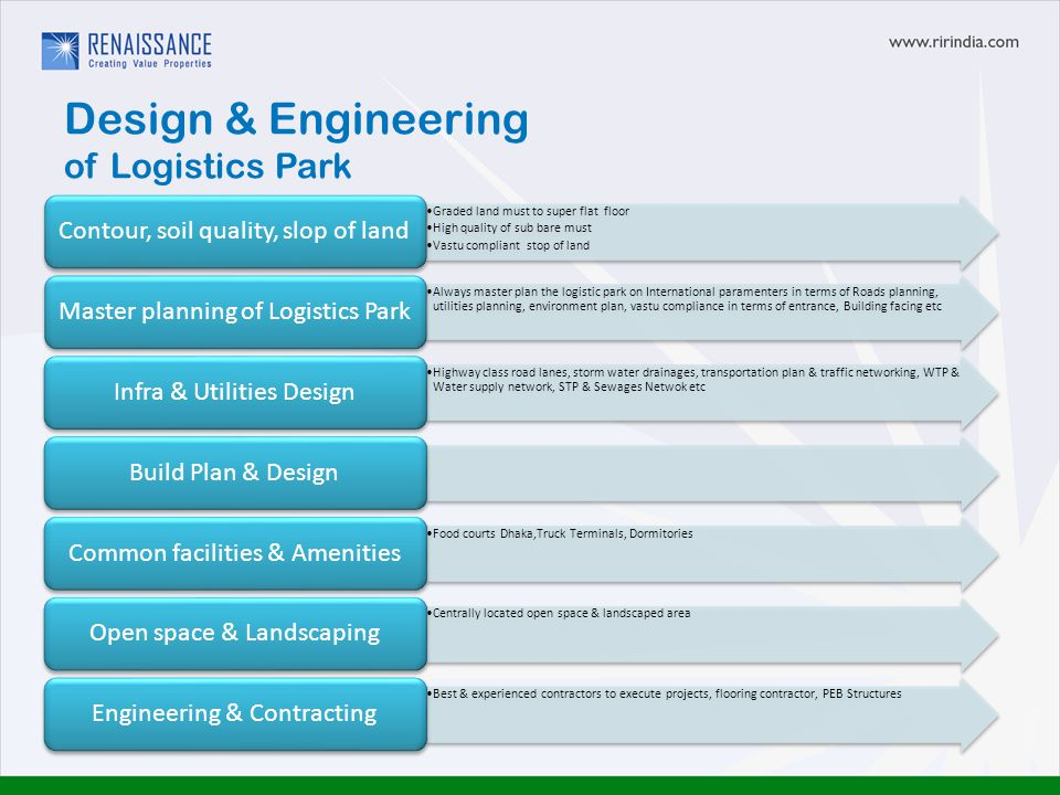 Design & Engineering of Logistics Park Graded land must to super flat floor High quality of sub bare must Vastu compliant stop of land Contour, soil quality, slop of land Always master plan the logistic park on International paramenters in terms of Roads planning, utilities planning, environment plan, vastu compliance in terms of entrance, Building facing etc Master planning of Logistics Park Highway class road lanes, storm water drainages, transportation plan & traffic networking, WTP & Water supply network, STP & Sewages Netwok etc Infra & Utilities DesignBuild Plan & Design Food courts Dhaka,Truck Terminals, Dormitories Common facilities & Amenities Centrally located open space & landscaped area Open space & Landscaping Best & experienced contractors to execute projects, flooring contractor, PEB Structures Engineering & Contracting