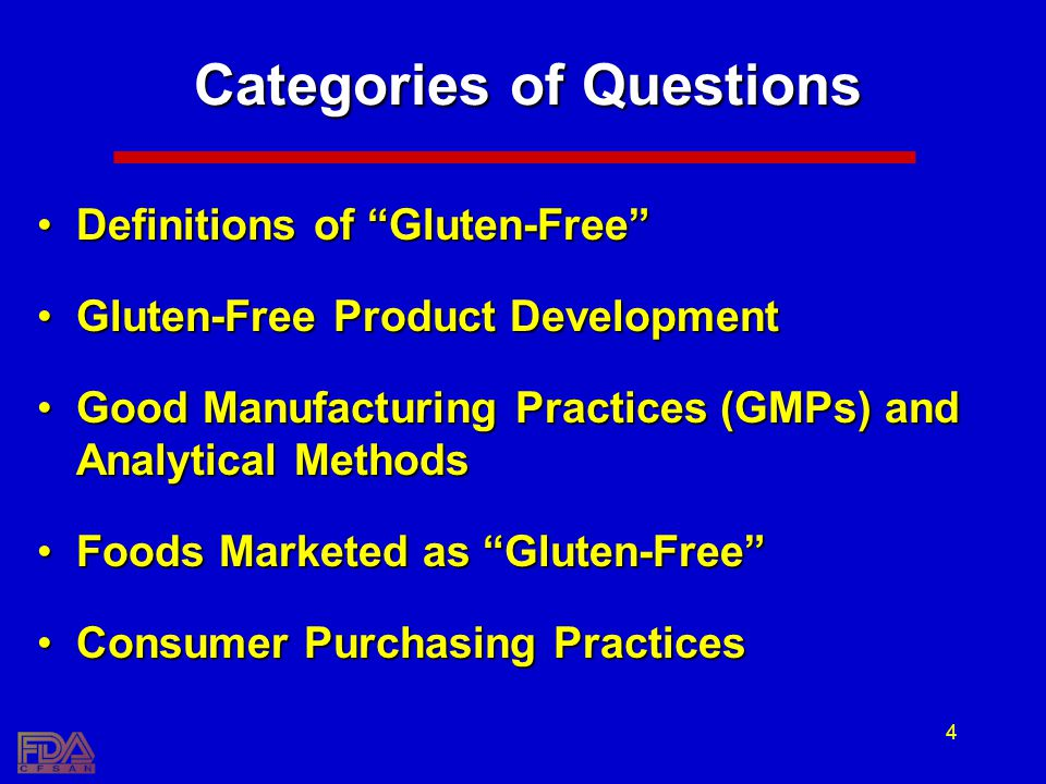 4 Categories of Questions Definitions of Gluten-FreeDefinitions of Gluten-Free Gluten-Free Product DevelopmentGluten-Free Product Development Good Manufacturing Practices (GMPs) and Analytical MethodsGood Manufacturing Practices (GMPs) and Analytical Methods Foods Marketed as Gluten-FreeFoods Marketed as Gluten-Free Consumer Purchasing PracticesConsumer Purchasing Practices