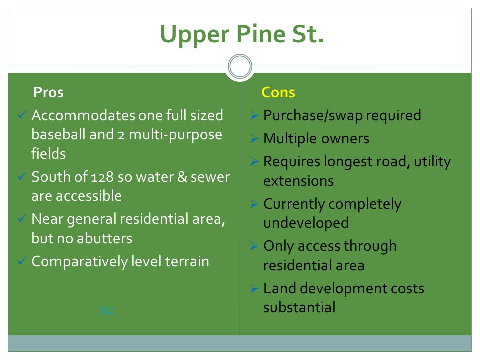 Upper Pine St. Pros Accommodates one full sized baseball and 2 multi-purpose fields South of 128 so water & sewer are accessible Near general resident