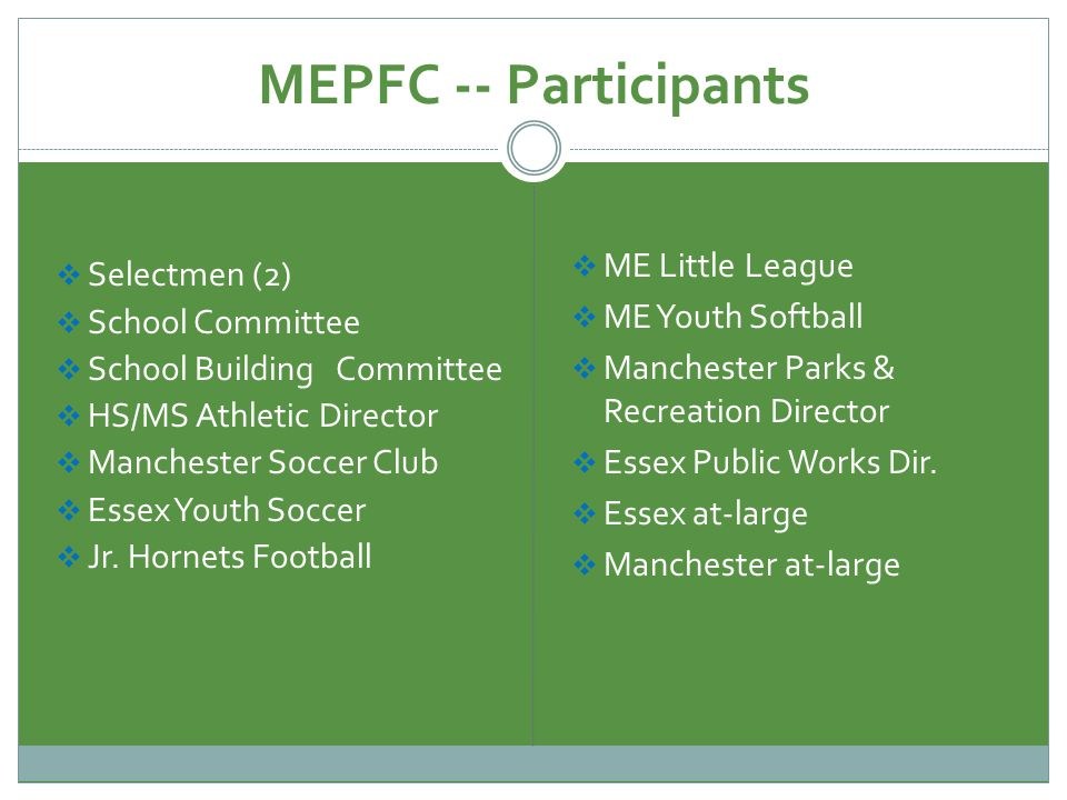 MEPFC -- Participants Selectmen (2) School Committee School Building Committee HS/MS Athletic Director Manchester Soccer Club Essex Youth Soccer Jr.