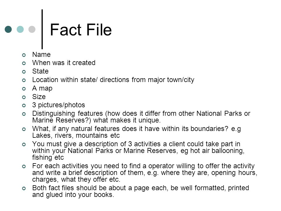 Fact File Name When was it created State Location within state/ directions from major town/city A map Size 3 pictures/photos Distinguishing features (