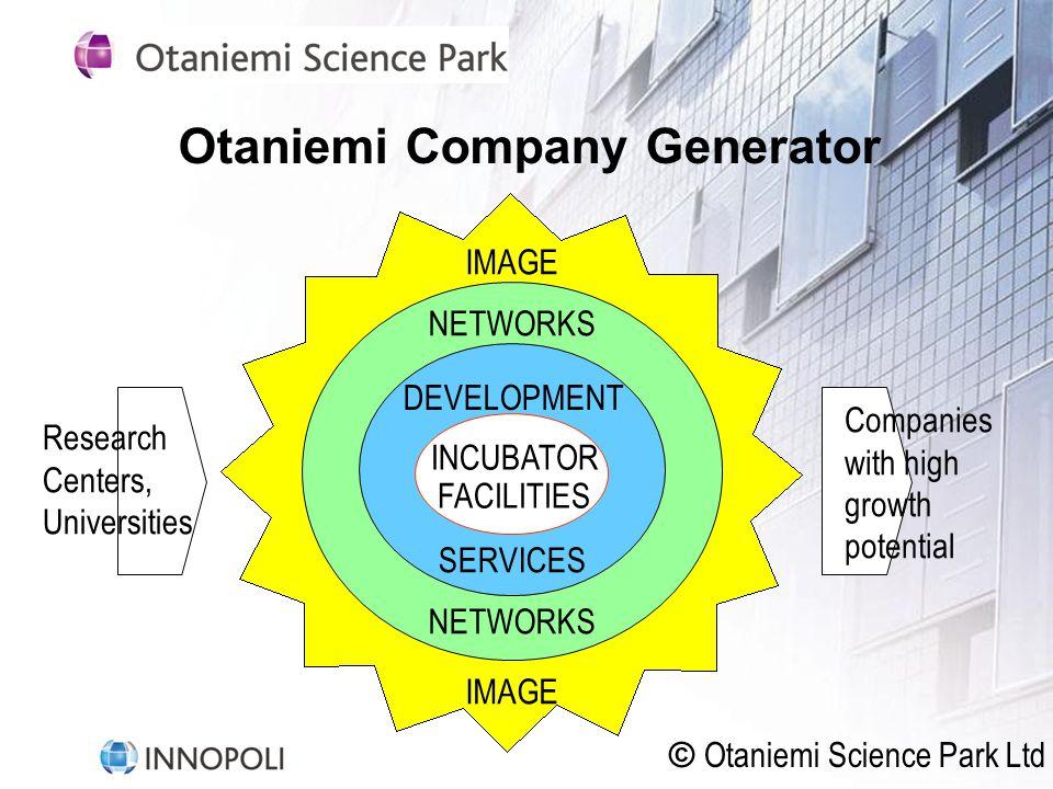 Otaniemi Company Generator IMAGE NETWORKS DEVELOPMENT SERVICES INCUBATOR FACILITIES Research Centers, Universities Companies with high growth potential © Otaniemi Science Park Ltd