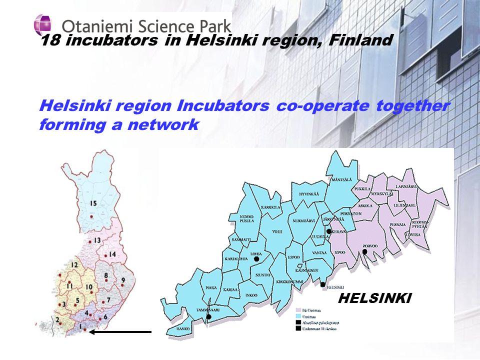 18 incubators in Helsinki region, Finland Helsinki region Incubators co-operate together forming a network HELSINKI