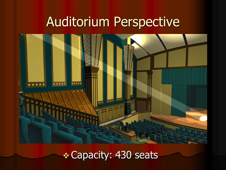Analysis Articulation Articulation Relation of auditorium to lobby Relation of auditorium to lobby Views Views Raked seating Raked seating Light Light Auditorium controlled environment Auditorium controlled environment Lobby utilizes natural light Lobby utilizes natural light Technology Technology Use of acoustical panels in the auditorium Use of acoustical panels in the auditorium
