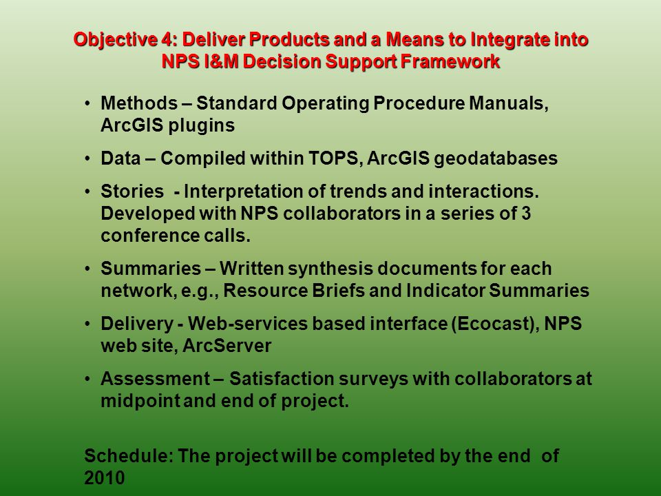 Objective 4: Deliver Products and a Means to Integrate into NPS I&M Decision Support Framework Methods – Standard Operating Procedure Manuals, ArcGIS