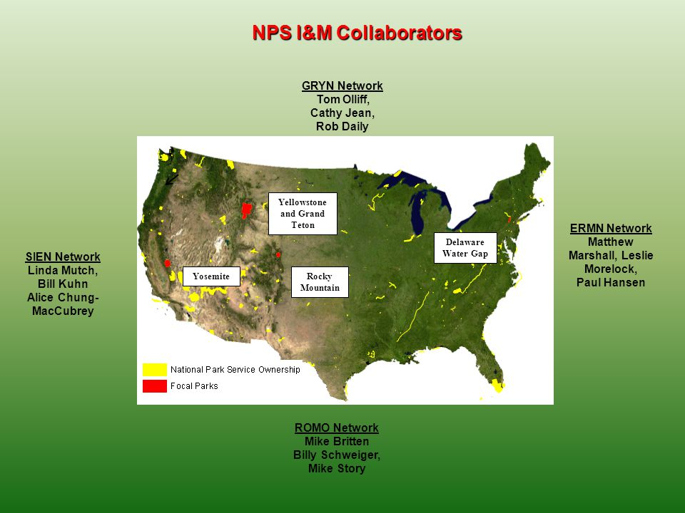 NPS I&M Collaborators Rocky Mountain Yosemite Delaware Water Gap Yellowstone and Grand Teton GRYN Network Tom Olliff, Cathy Jean, Rob Daily SIEN Netwo