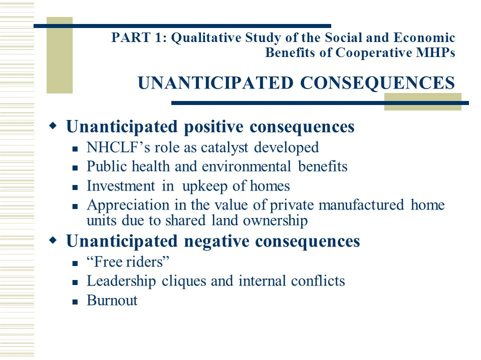 PART 1: Qualitative Study of the Social and Economic Benefits of Cooperative MHPs UNANTICIPATED CONSEQUENCES Unanticipated positive consequences NHCLF