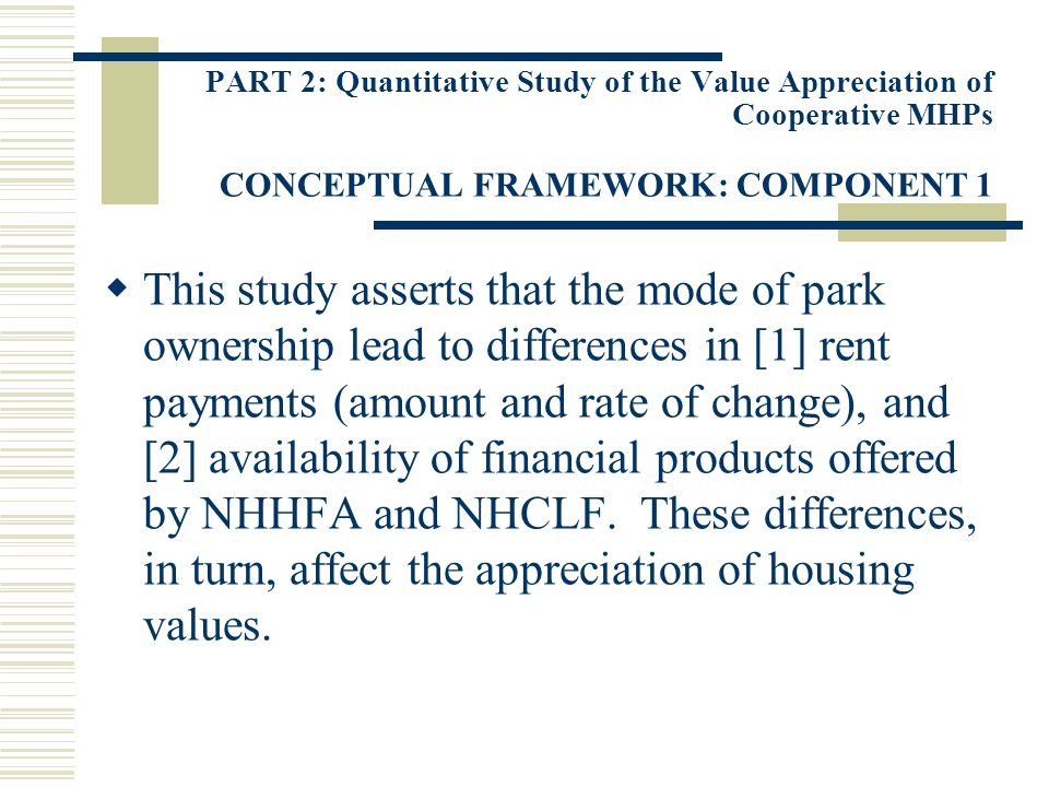 PART 2: Quantitative Study of the Value Appreciation of Cooperative MHPs CONCEPTUAL FRAMEWORK: COMPONENT 1 This study asserts that the mode of park ow