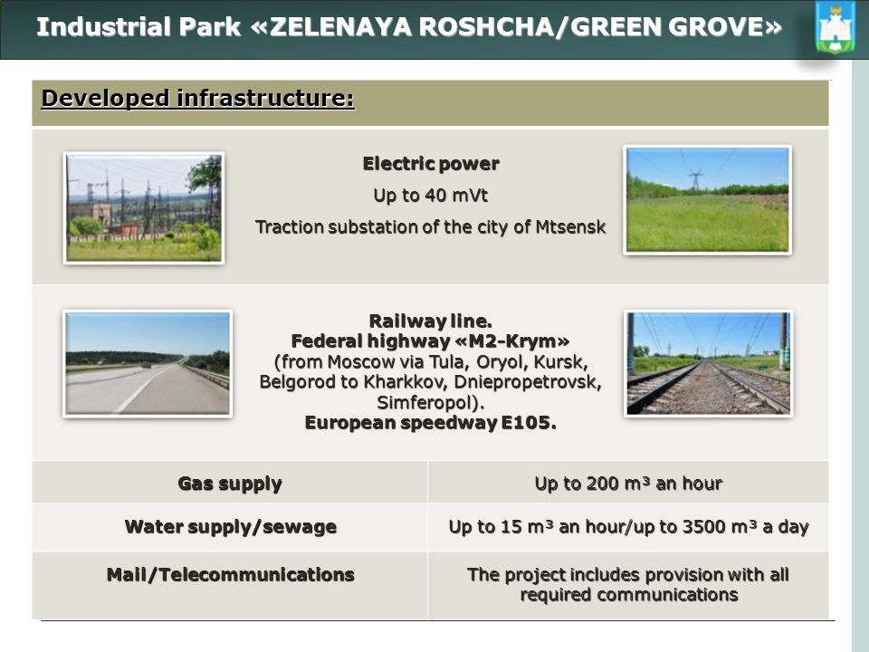 Industrial Park «ZELENAYA ROSHCHA/GREEN GROVE» Industrial Park «ZELENAYA ROSHCHA/GREEN GROVE» Developed infrastructure: Electric power Up to 40 mVt Tr
