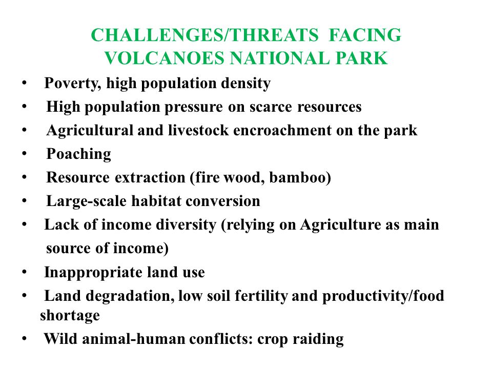 CHALLENGES/THREATS FACING VOLCANOES NATIONAL PARK Poverty, high population density High population pressure on scarce resources Agricultural and livestock encroachment on the park Poaching Resource extraction (fire wood, bamboo) Large-scale habitat conversion Lack of income diversity (relying on Agriculture as main source of income) Inappropriate land use Land degradation, low soil fertility and productivity/food shortage Wild animal-human conflicts: crop raiding