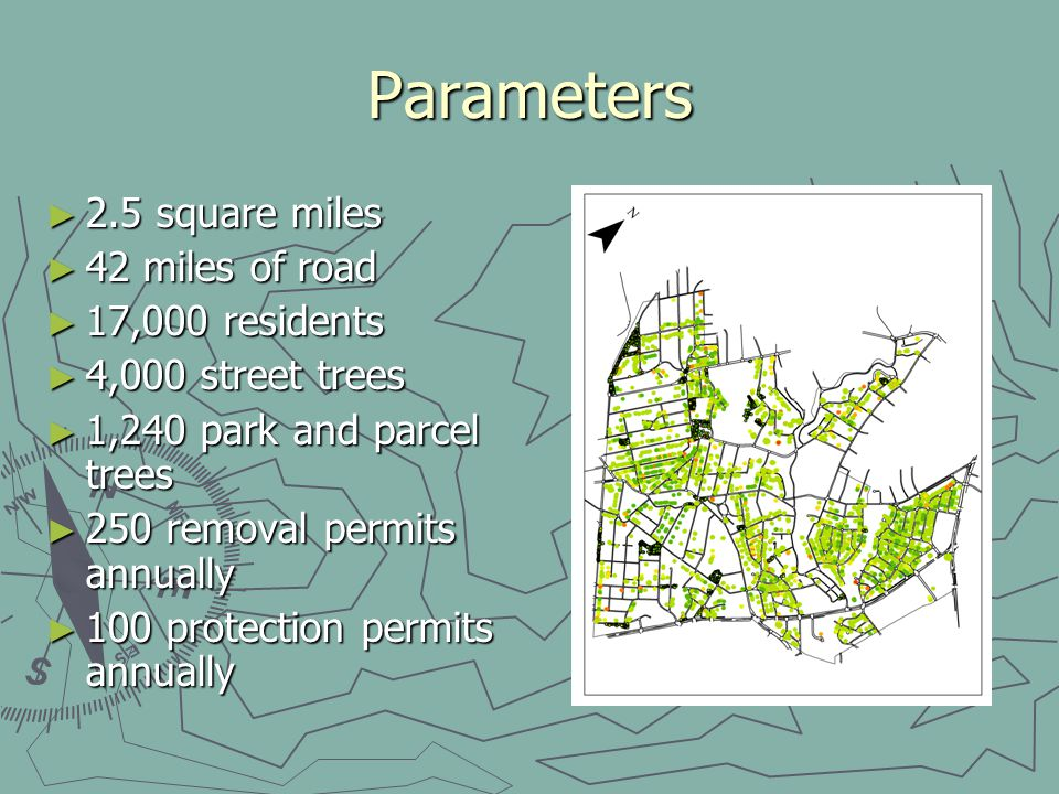 Parameters 2.5 square miles 2.5 square miles 42 miles of road 42 miles of road 17,000 residents 17,000 residents 4,000 street trees 4,000 street trees 1,240 park and parcel trees 1,240 park and parcel trees 250 removal permits annually 250 removal permits annually 100 protection permits annually 100 protection permits annually