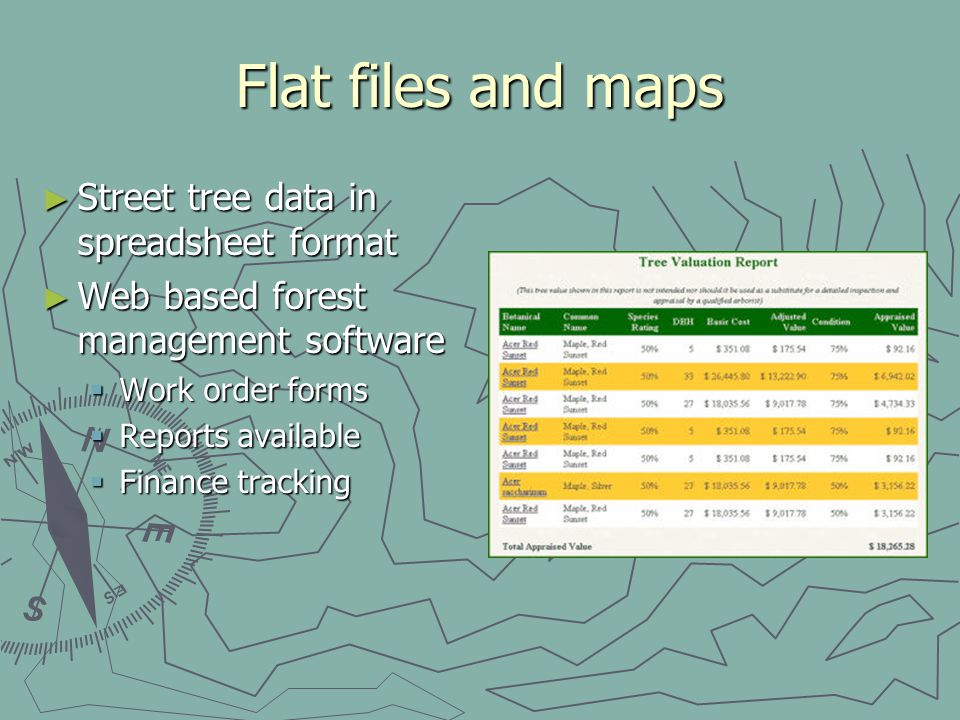Flat files and maps Street tree data in spreadsheet format Street tree data in spreadsheet format Web based forest management software Web based fores