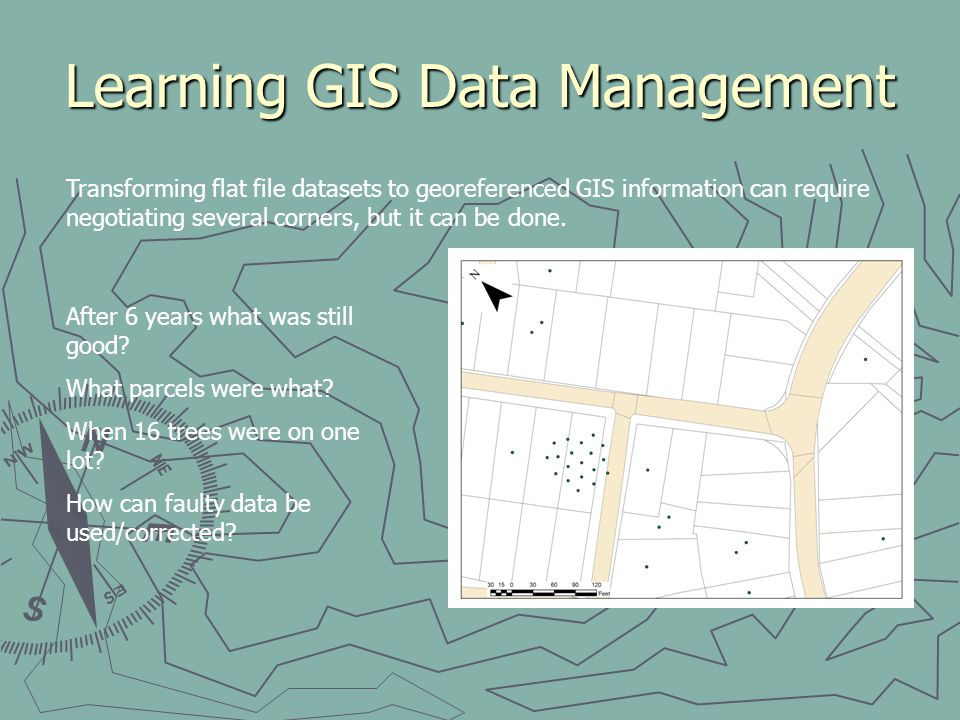 Learning GIS Data Management Transforming flat file datasets to georeferenced GIS information can require negotiating several corners, but it can be d
