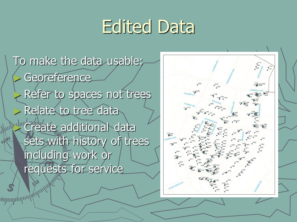 Edited Data To make the data usable: Georeference Georeference Refer to spaces not trees Refer to spaces not trees Relate to tree data Relate to tree