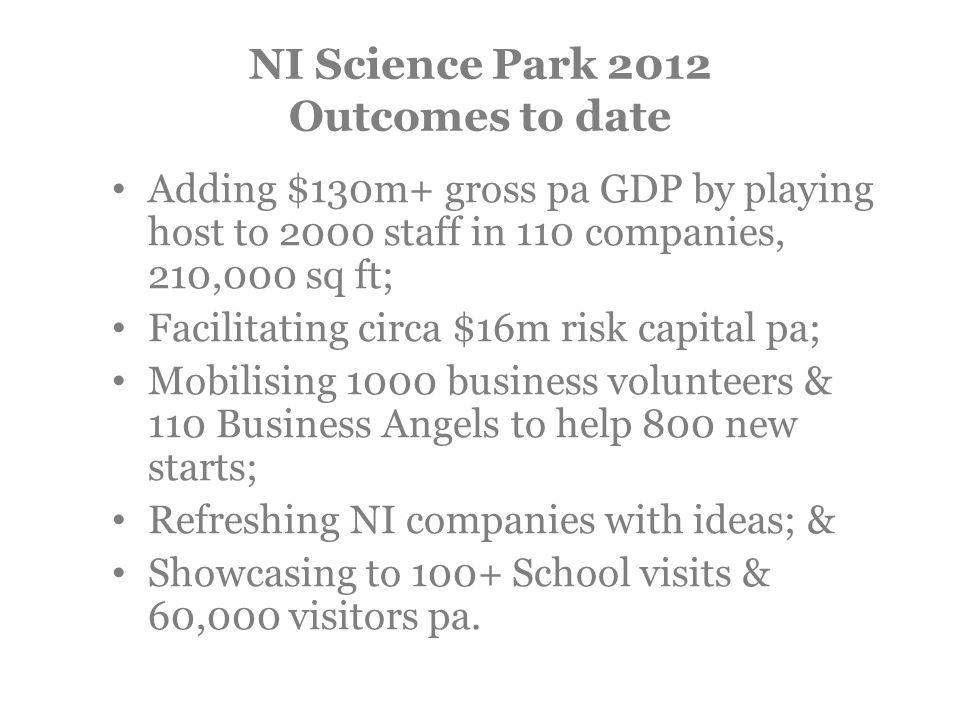 NI Science Park 2012 Outcomes to date Adding $130m+ gross pa GDP by playing host to 2000 staff in 110 companies, 210,000 sq ft; Facilitating circa $16m risk capital pa; Mobilising 1000 business volunteers & 110 Business Angels to help 800 new starts; Refreshing NI companies with ideas; & Showcasing to 100+ School visits & 60,000 visitors pa.