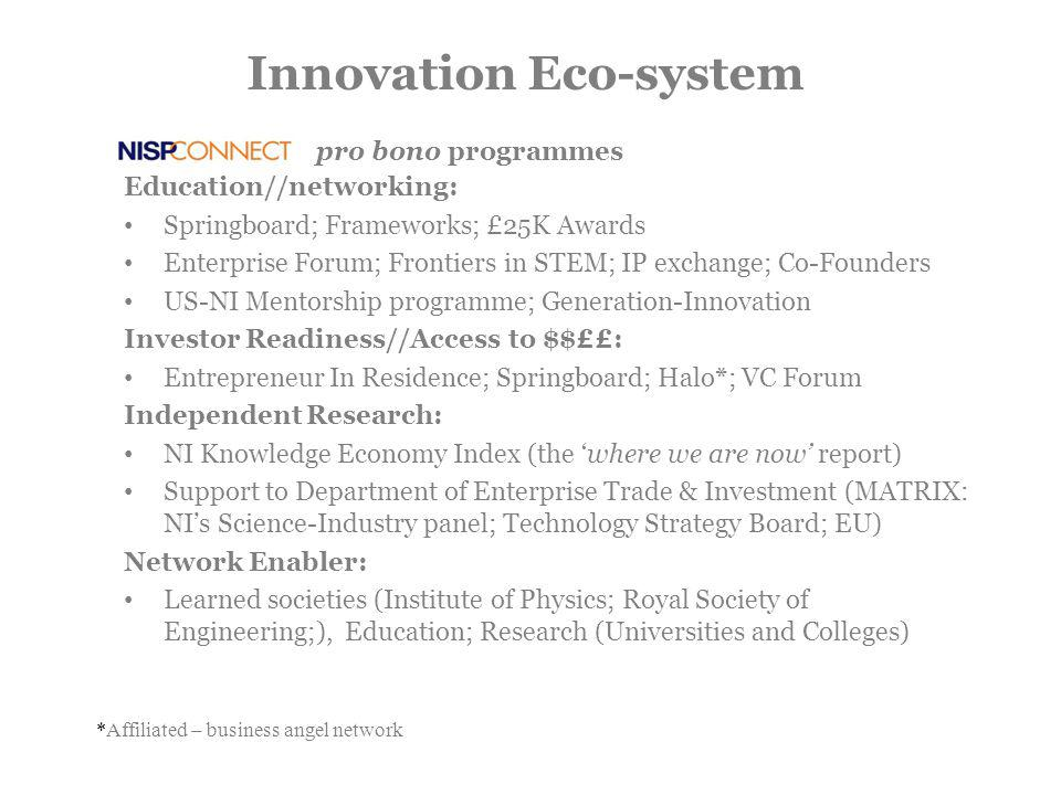 Innovation Eco-system Education//networking: Springboard; Frameworks; £25K Awards Enterprise Forum; Frontiers in STEM; IP exchange; Co-Founders US-NI