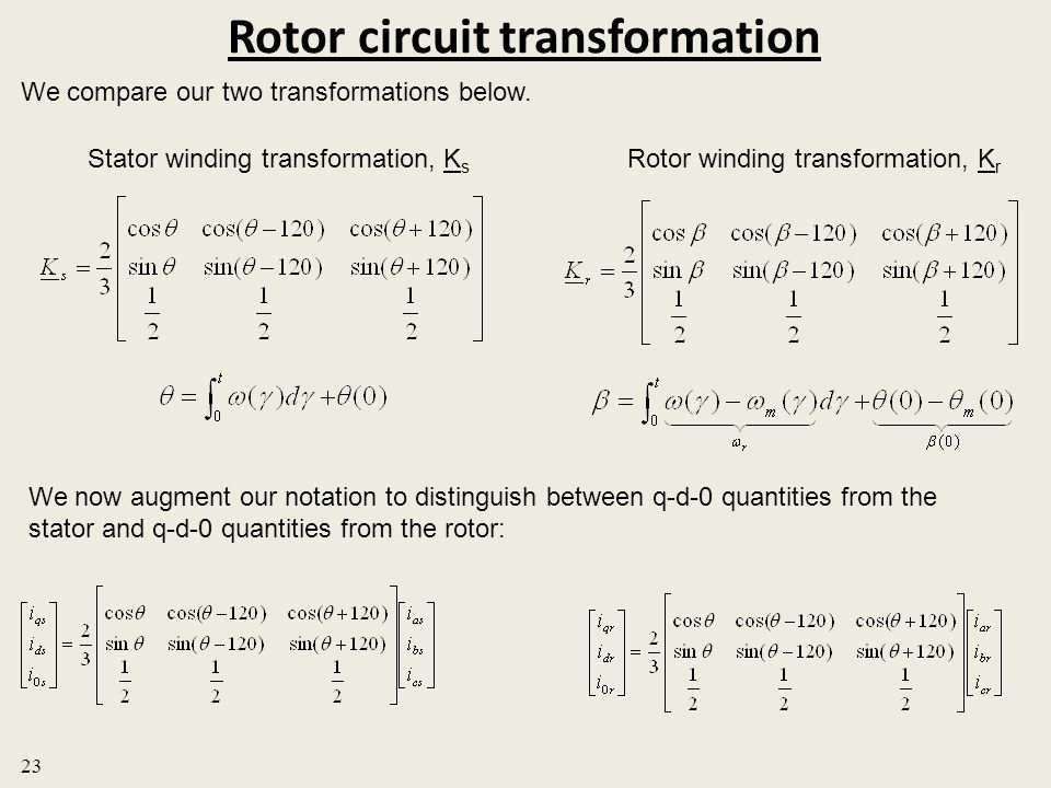 Rotor circuit transformation We compare our two transformations below. Stator winding transformation, K s Rotor winding transformation, K r 23 We now
