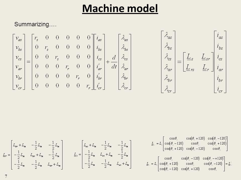 Machine model 7 Summarizing….
