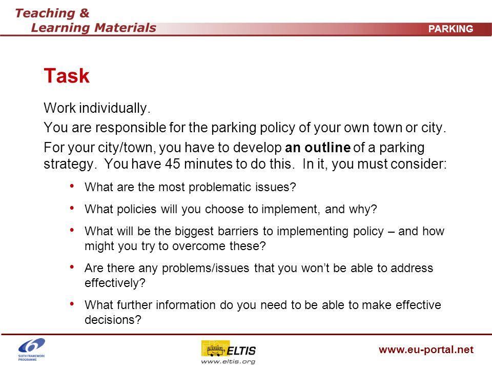 www.eu-portal.net PARKING Task Work individually.