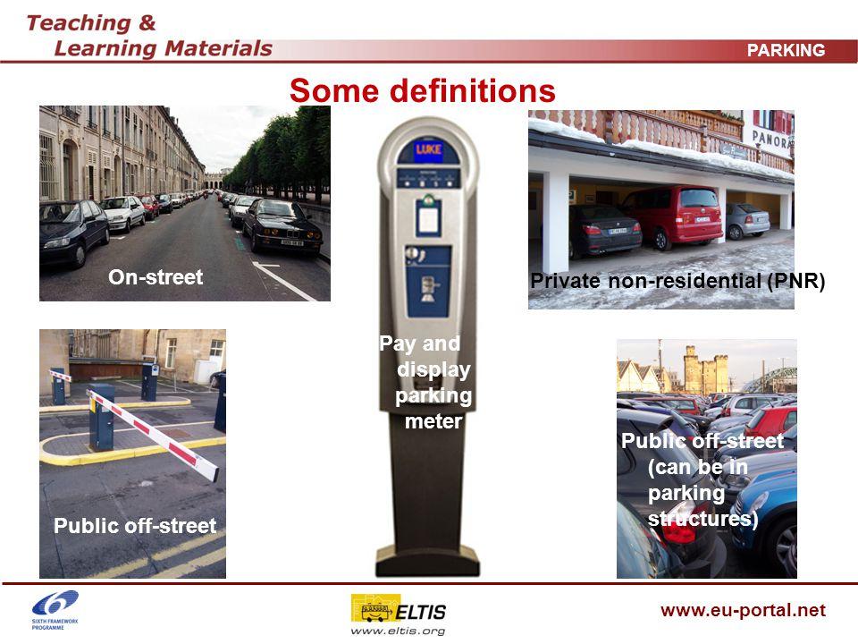 www.eu-portal.net PARKING Policy conflicts Economic vitality Demand/congestion management Revenue raising Safety/ accessibility ?