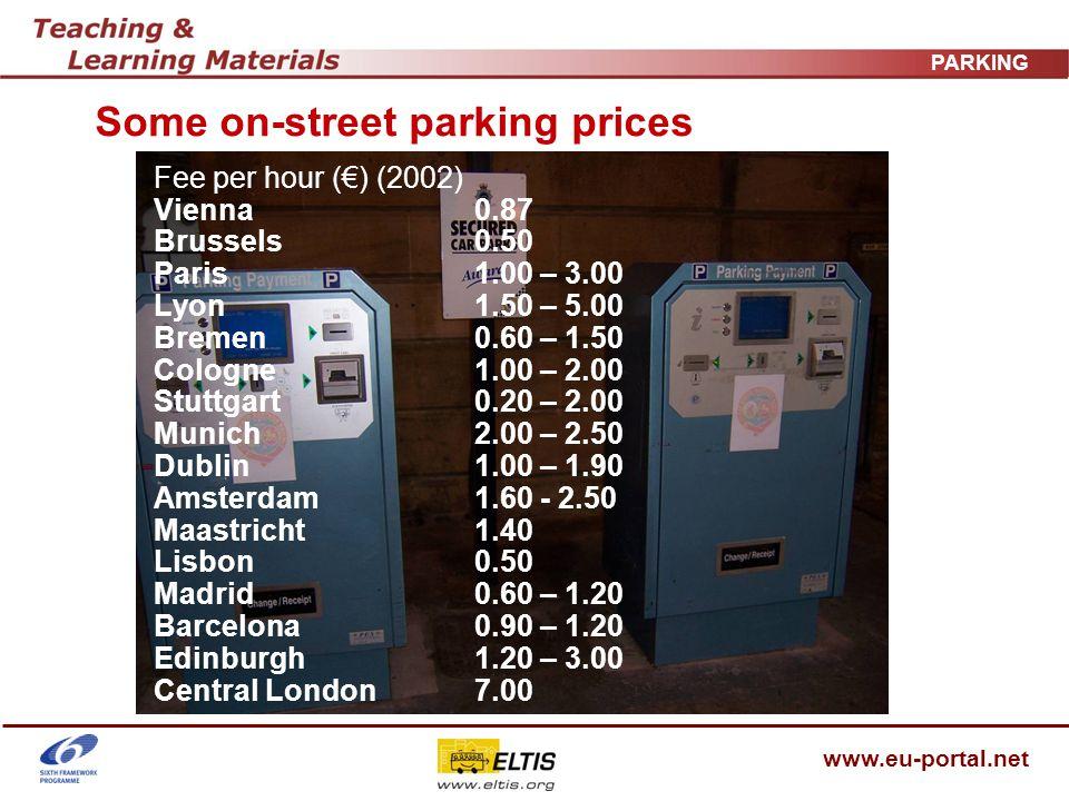 www.eu-portal.net PARKING Some on-street parking prices Fee per hour () (2002) Vienna0.87 Brussels0.50 Paris1.00 – 3.00 Lyon1.50 – 5.00 Bremen0.60 – 1.50 Cologne1.00 – 2.00 Stuttgart0.20 – 2.00 Munich2.00 – 2.50 Dublin1.00 – 1.90 Amsterdam1.60 - 2.50 Maastricht1.40 Lisbon0.50 Madrid0.60 – 1.20 Barcelona0.90 – 1.20 Edinburgh1.20 – 3.00 Central London7.00