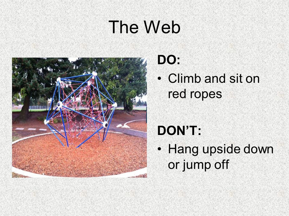 The Web DO: Climb and sit on red ropes DONT: Hang upside down or jump off