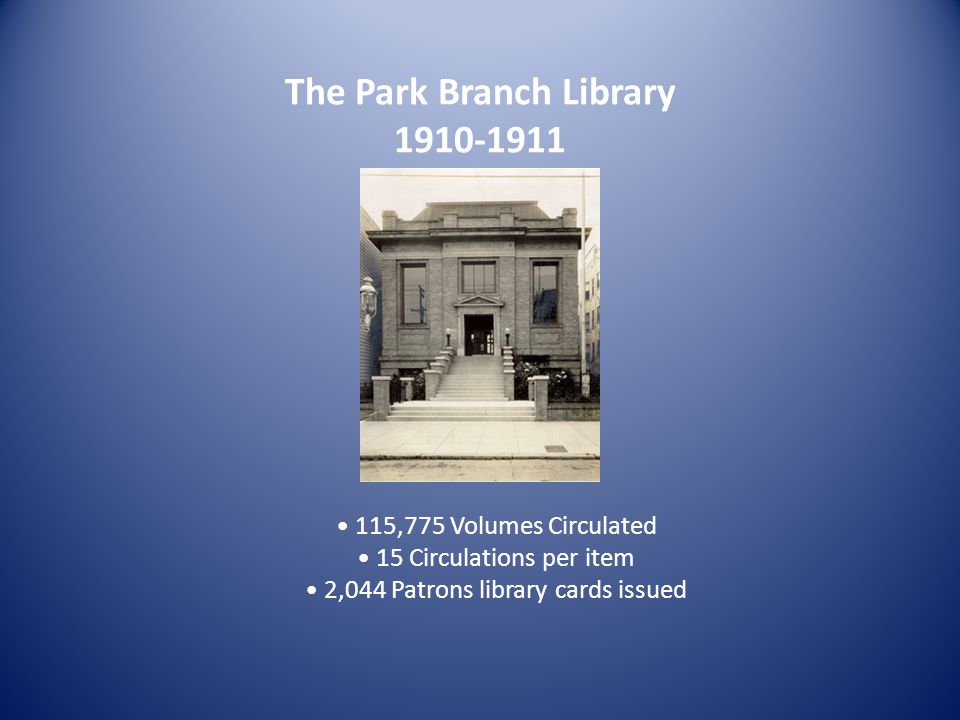 The Park Branch Library 1910-1911 115,775 Volumes Circulated 15 Circulations per item 2,044 Patrons library cards issued
