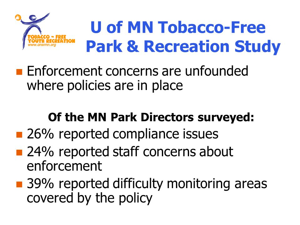 Enforcement concerns are unfounded where policies are in place Of the MN Park Directors surveyed: 26% reported compliance issues 24% reported staff concerns about enforcement 39% reported difficulty monitoring areas covered by the policy U of MN Tobacco-Free Park & Recreation Study