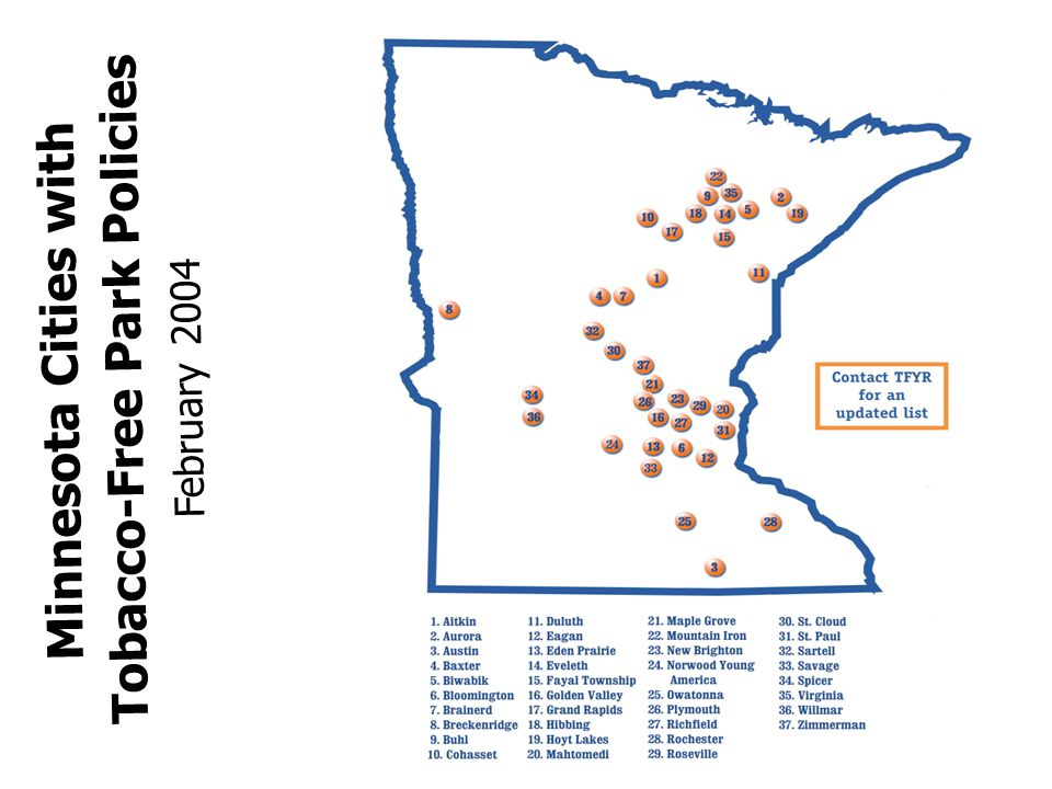 Minnesota Cities with Tobacco-Free Park Policies February 2004