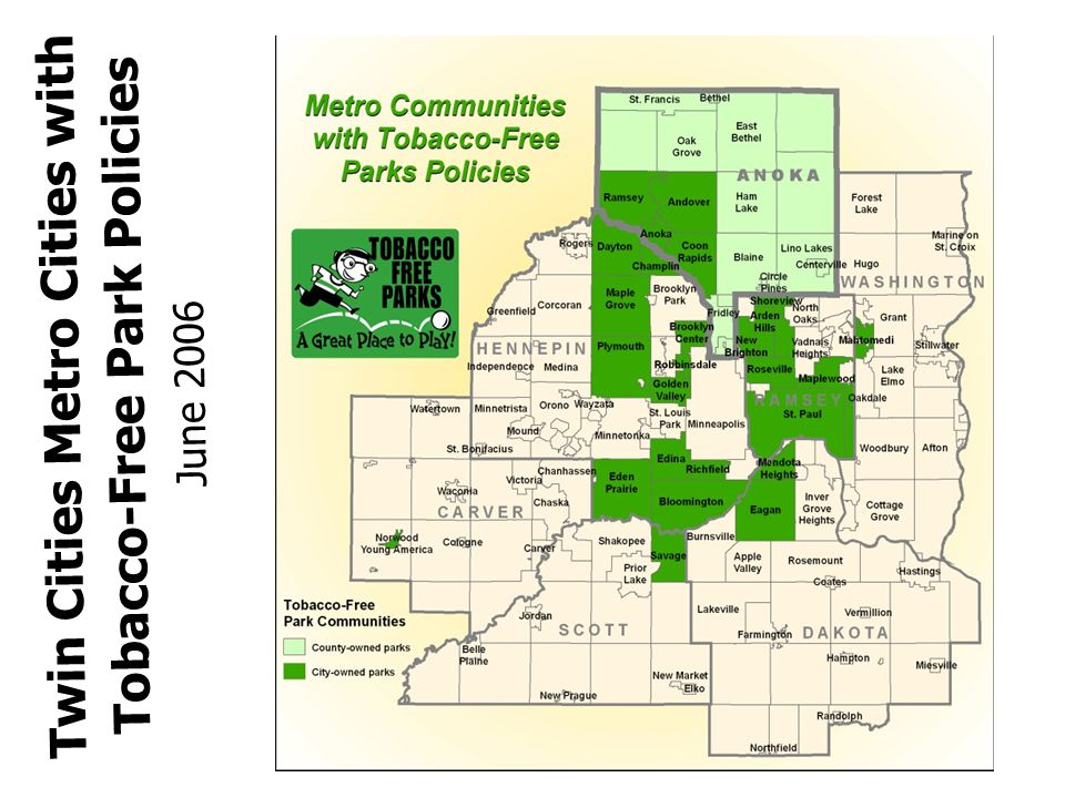 Twin Cities Metro Cities with Tobacco-Free Park Policies June 2006