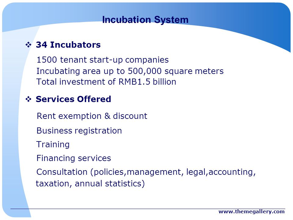 Incubation System 34 Incubators 1500 tenant start-up companies Incubating area up to 500,000 square meters Total investment of RMB1.5 billion Services Offered Rent exemption & discount Business registration Training Financing services Consultation (policies,management, legal,accounting, taxation, annual statistics)