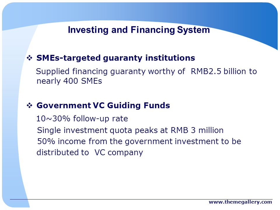 Investing and Financing System SMEs-targeted guaranty institutions Supplied financing guaranty worthy of RMB2.5 billion to nearly 400 SMEs Government VC Guiding Funds 10~30% follow-up rate Single investment quota peaks at RMB 3 million 50% income from the government investment to be distributed to VC company
