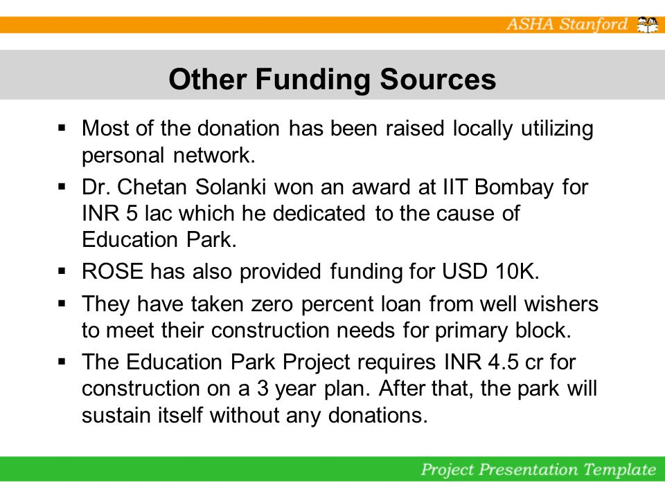 Other Funding Sources Most of the donation has been raised locally utilizing personal network.