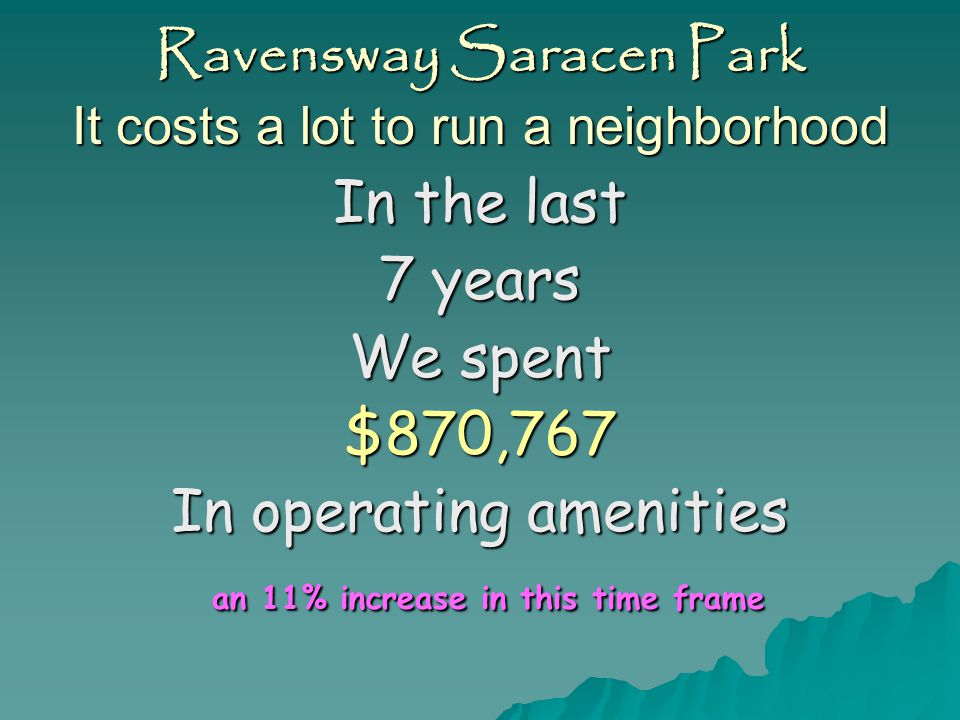 Ravensway Saracen Park It costs a lot to run a neighborhood In the last 7 years We have collected $2,050,375 In assessments A zero% increase in this time frame