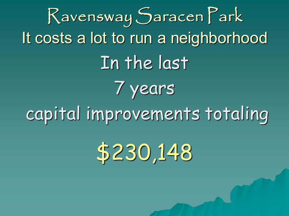 Ravensway Saracen Park It costs a lot to run a neighborhood In the last 7 years We spent $870,767 In operating amenities an 11% increase in this time frame an 11% increase in this time frame