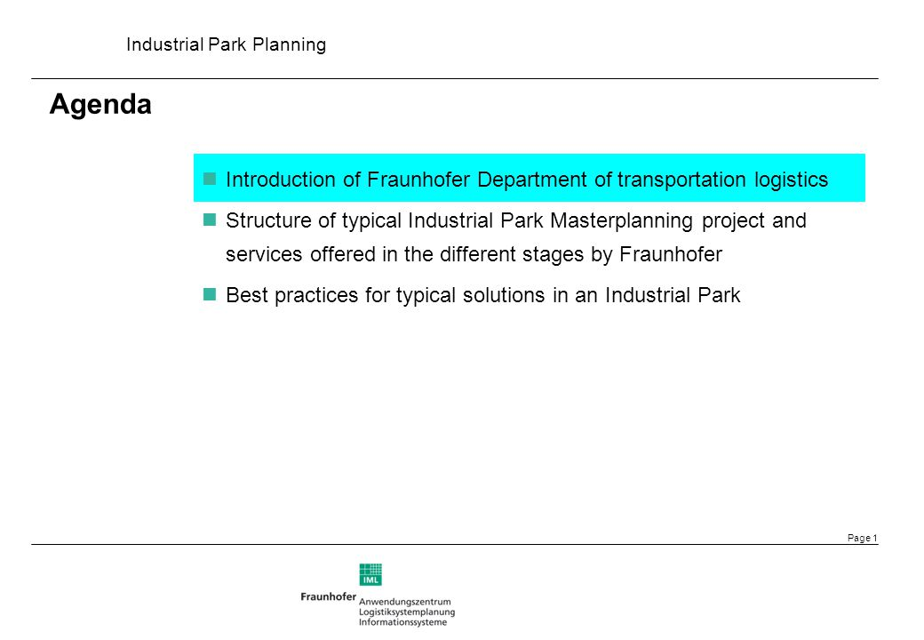 Industrial Park Planning Page 12 Market Demand Survey & Analysis Best Practice Case Studies Competition & SWOT Analysis Mission Objectives Vision Organization Structure for management company Strategic Function Design Strategic Layout Design Biz Model for management company Market Promotion Plan Cost benefit analysis Recent Five Years Stage I: First Winning Strategies Five to Ten Years Stage II: Second Winning Strategies Ten to Fifteen Years Stage III: Third Winning Strategies Optional project range: Detailed planning to be defined by agreement Strategic Functional Planning for Industrial Parks