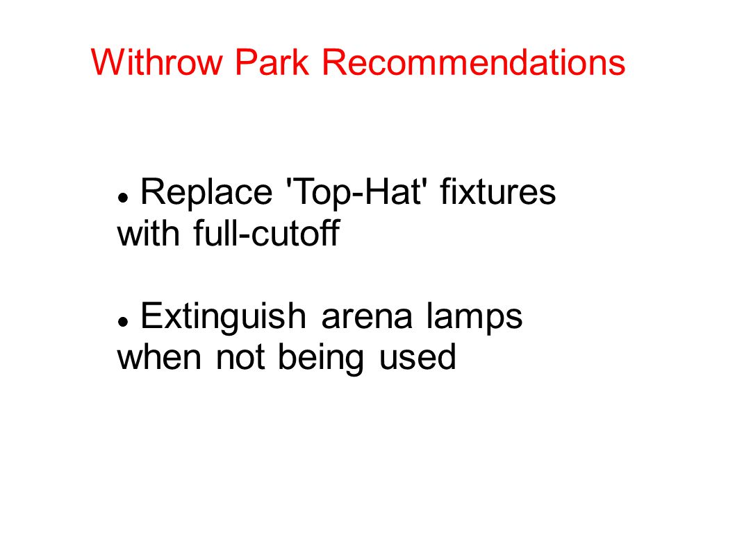 Withrow Park Recommendations Replace Top-Hat fixtures with full-cutoff Extinguish arena lamps when not being used