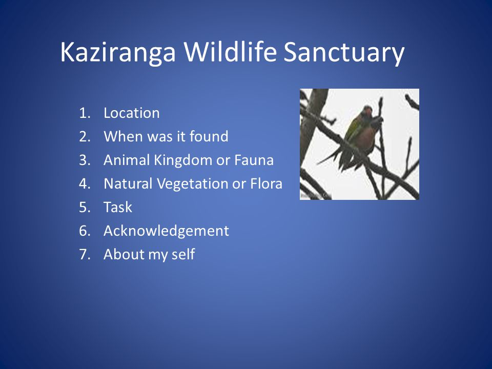 Kaziranga Wildlife Sanctuary Location : 1.Kaziranga is a National Park in the Golaghat and Nagaon districts of the state Assam.