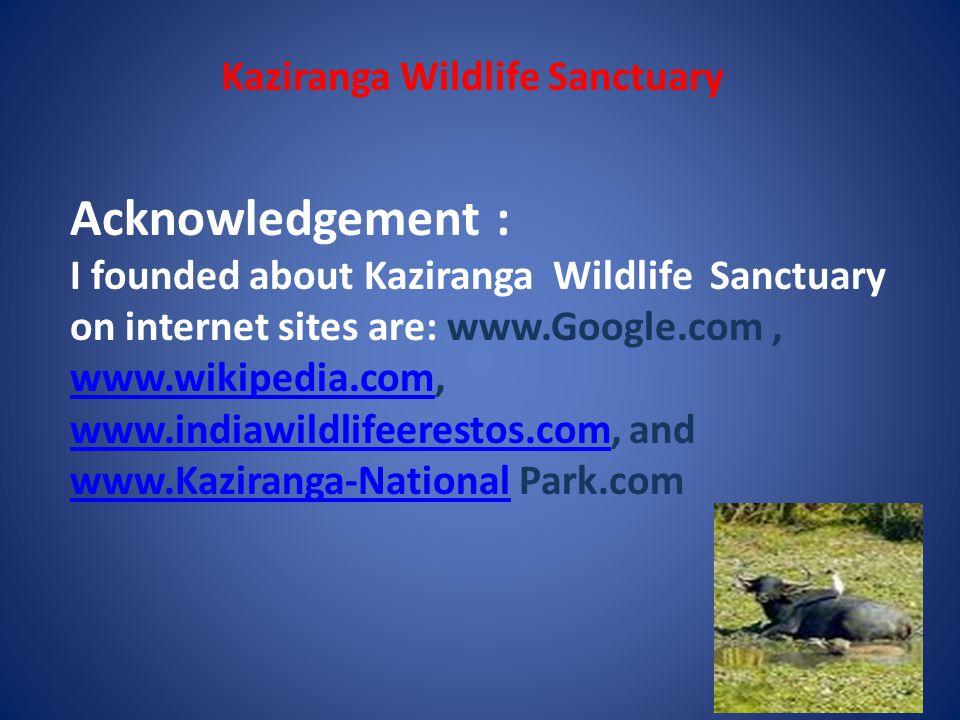 Kaziranga Wildlife Sanctuary About my self: Name : Arindam Gupta Class: Vth 2D Roll no: 9 Date: 07.09.09