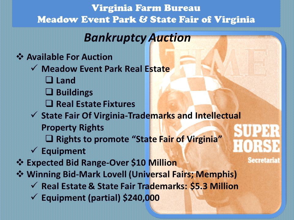 Virginia Farm Bureau Meadow Event Park & State Fair of Virginia Bankruptcy Auction Available For Auction Meadow Event Park Real Estate Land Buildings Real Estate Fixtures State Fair Of Virginia-Trademarks and Intellectual Property Rights Rights to promote State Fair of Virginia Equipment Expected Bid Range-Over $10 Million Winning Bid-Mark Lovell (Universal Fairs; Memphis) Real Estate & State Fair Trademarks: $5.3 Million Equipment (partial) $240,000